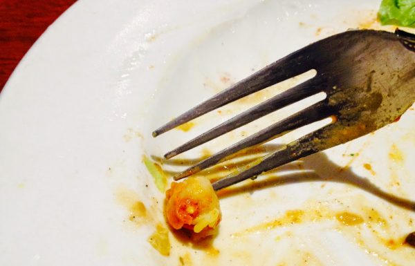 Diner uses only fork in attempt to chase down last garbanzo bean
