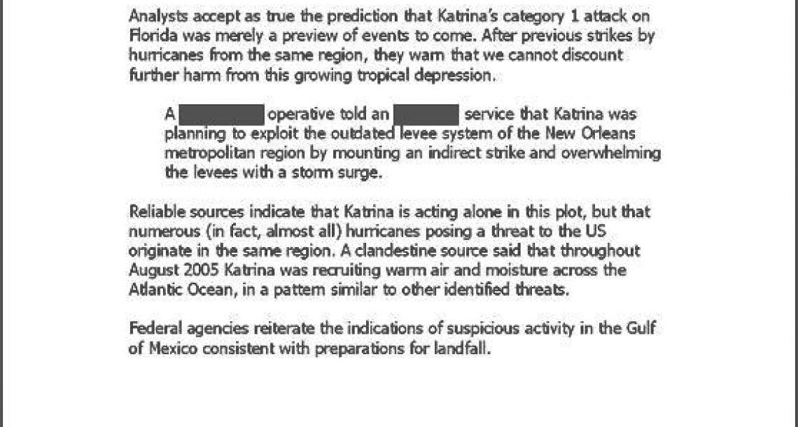 Declassified Memo: Katrina determined to strike in U.S.