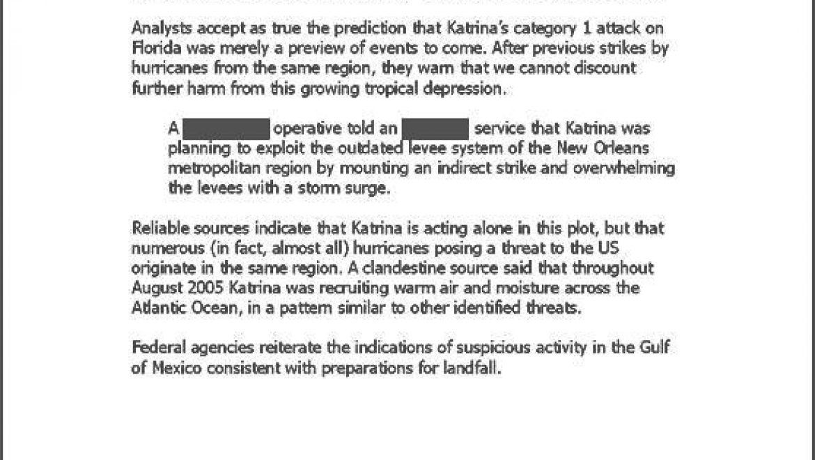 Declassified Memo: Katrina determined to strike in U.S.
