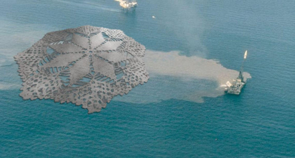 Oil spill cleaned up with gigantic doily