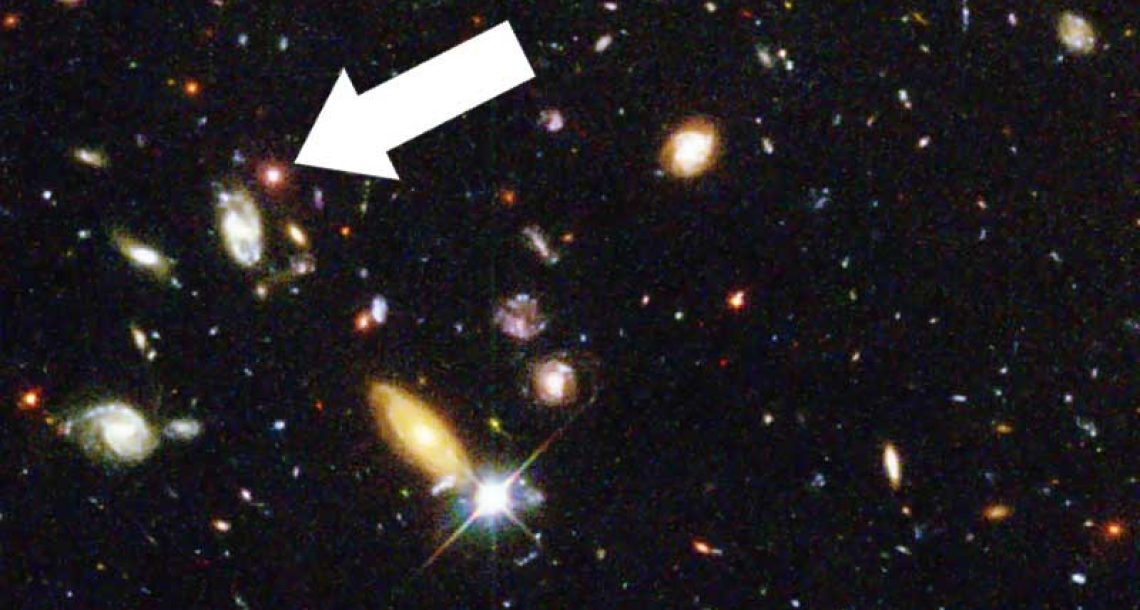 Massive arrow threatens distant galaxy
