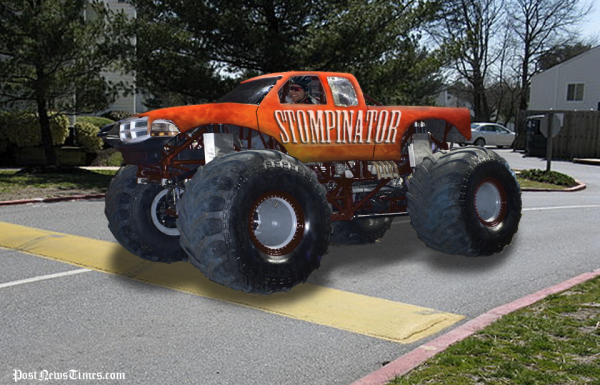 Monster Truck Brought To Standstill By Speed Bump