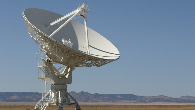 Radio telescope opening garage doors on distant planets